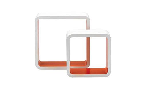 King Home m1105002/D Set 2pièces étagère Quadra Courbe en MDF Bicolore, Blanc/Orange, 26x 10x 26Heures 20x 10x 20H