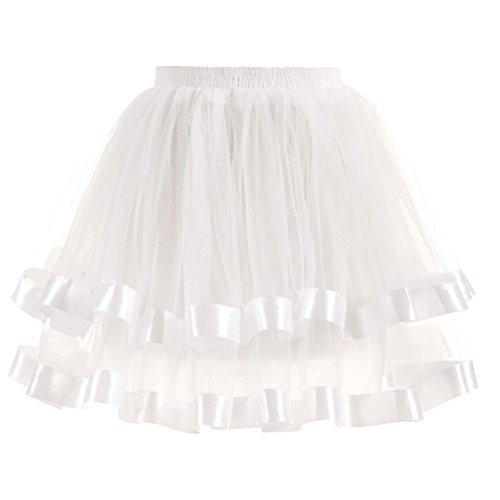Kanpola Damen Gefaltete Gaze kurzer Rock Adult Tutu Dancing Skirt Röcke (XL /Gr 42, Weiß) Weißer Gaze Maxi-kleid