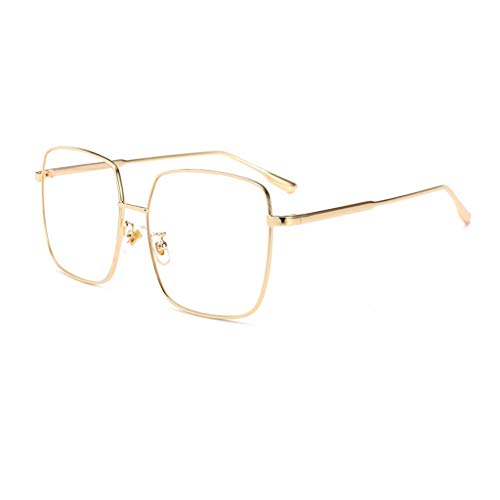 QTT Flacher Spiegel, Over-The-Counter-Brille, Transparente Gläser Ohne Grad, Brille/Brille, Lesebrille (Farbe : Gold)