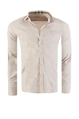 Camicia burberry brit mens slim fit, in diversi colori, dimensione:xl, colore:beige
