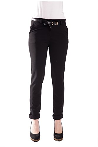 Kiwi Fashion Damenhose mit Gürtel Skinny Schwarz 36