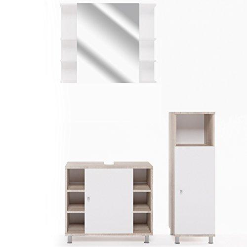 VICCO Badmöbel Set Badezimmermöbel Fynn Spiegel + Unterschrank + Midischrank + Hochschrank (Set 2, Eiche Sonoma)