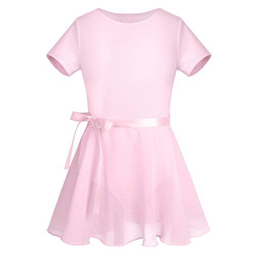 (iixpin Kinder Langarm Ballettkleid Ballettkleidung im Set Ballettanzug/Ballett Trikot mit Chiffon Röckchen in Rosa, weiß, Schwarz, Lavendel und Dunkel Lila (128-140, Stil A: Rosa (Kurzarm)))