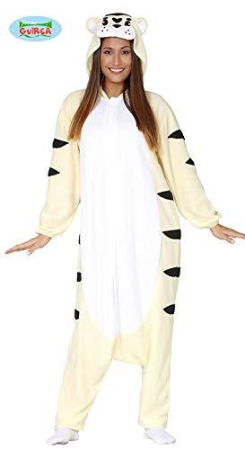 Generique - Weißer Tiger Kostüm-Overall für Erwachsene Tier-Verkleidung Weiss-schwarz L (52-54) (Für Erwachsene Weiße Tiger Kostüm)
