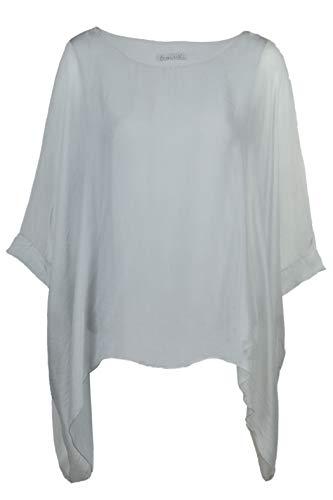 Cara Mia Seidentunika für Damen Made in Italy lang Fledermaus-Ärmel Grau 38-44 - Damen 100% Seide Bluse