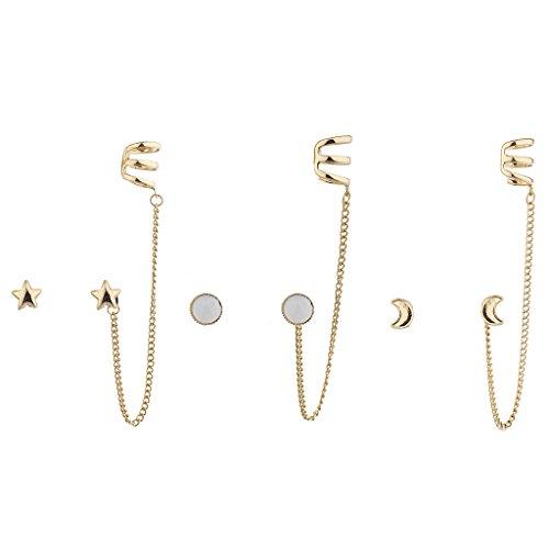 LUX Zubehör Gold Ton Boho Celestial Multi Ohrring Ohr Manschette Set (3)