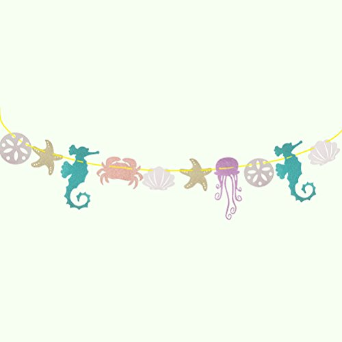 Party Banner Luau Party Banner Girlande Seahorse Qualle Seashell Krabbe Seestern Beach Party Banner Luau Party Dekoration ()