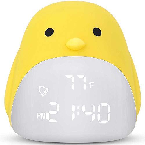 HYLG- Alarm Clock Kinder Wecker, Süße Küken Wecker Für Mädchen Jungen, Nacht Licht Uhr Mit 3 Farbe äNdern, Wake Up Digital Uhr Für Kinder 9.7X10X11/jaune