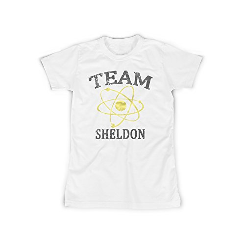 Frauen T-Shirt mit Aufdruck in Weiß Gr. XXXL Team Sheldon Sitcom Design Girl Top Mädchen Shirt Damen Basic 100% Baumwolle Kurzarm