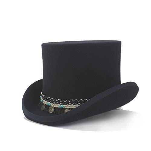 Haoweiwei Steampunk Magician Hat Damen Herren Steampunk Zylinderhut Präsident High Hat 100% Wolle Crazy Hat Geflochtene Quaste Runde Anhänger Traditionelle Flache Roll-Up-Krempe