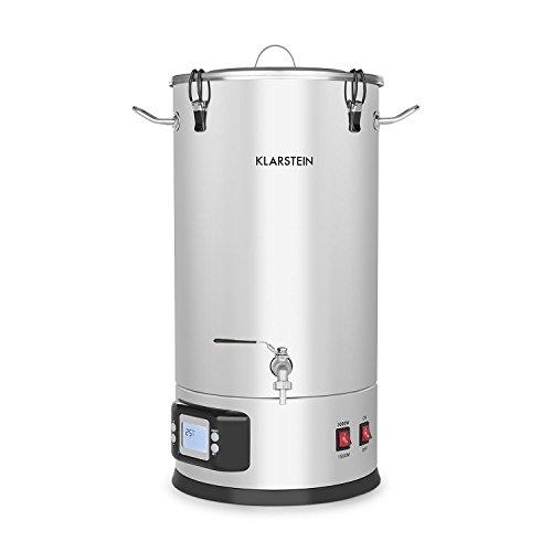 Klarstein Maischfest • Caldera de maceración • Barril de cerveza • Depósito de fermentación de cerveza • 5 piezas • 1500 y 3000 W • Capacidad de 25 litros • Pantalla LCD y panel táctil • Temperatura, tiempo y potencia regulables • Acero inoxidable