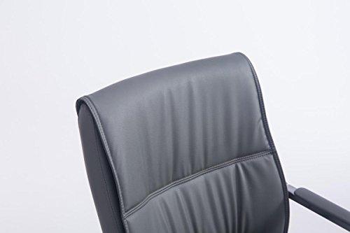 CLP XXL Freischwinger ANUBIS mit Kunstlederbezug und hochwertiger Sitzfläche | Strapazierbarer und pflegeleichter Besucherstuhl mit Armlehne | Metallgestell in Chrom-Optik mit Bodenschonern | In verschiedenen Farben erhältlich Grau - 4