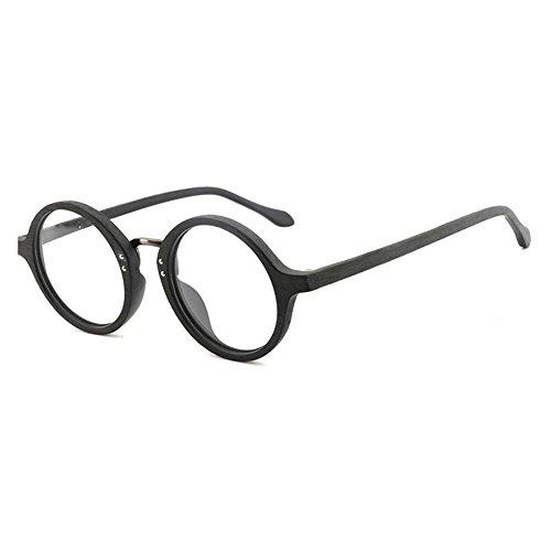 Hibote Männer Frauen Holz Brille - Klare Linse Brillengestell - Runde Brillen 18020707
