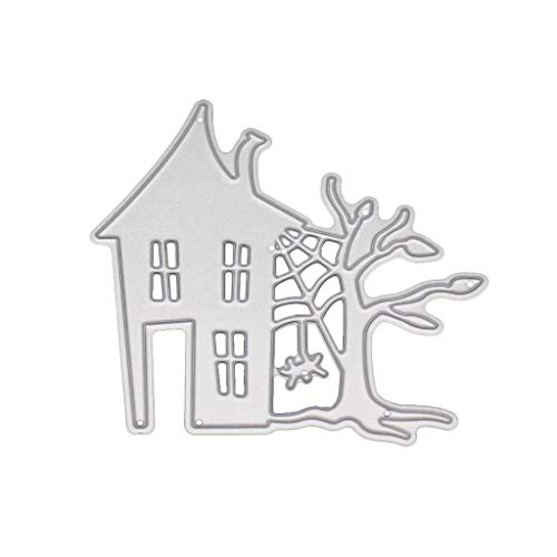 ECMQS Halloween Haus Stanzmaschine Stanzschablone, Scrapbooking Prägeschablonen Stanzformen Schablonen, Für DIY Scrapbooking Album, Schneiden Schablonen Papier Karten Sammelalbum Dekor (Halloween Schablonen Diy)