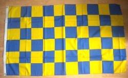 Motif carreaux Bleu/jaune Grand Drapeau 152 x 91 cm.