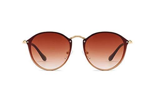 WSKPE Sonnenbrille,Mode Damen Cat Eye Sonnenbrille Metall Beine Randlose Sonnenbrille Frauen Shades Brille Gold Frame Braune Linse