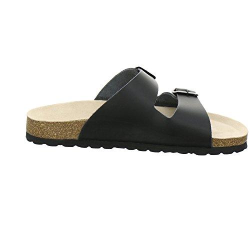 AFS-Schuhe 3100, bequeme Herren Pantoletten Leder Schwarz