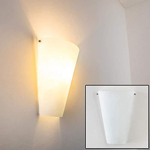 Preisvergleich Produktbild Wandlampe Zera aus Metall / Glas in Weiß,  moderne Wandleuchte mit Up & Down-Effekt,  1 x E27 max. 60 Watt,  Innenwandleuchte mit Lichteffekt,  geeignet für LED Leuchtmittel
