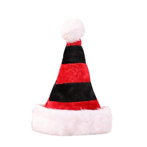 WHSHINE Unisex Weihnachtsmütze Nikolausmütze Plüsch Rand Weihnachtsfeier Rot Santa Mütze Nikolaus Dicker Fellrand aus Plüsch kuschelweich & angenehm Hut(Schwarz,Free)