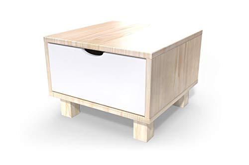 ABC MEUBLES - Chevet Cube tiroir Bois, Couleur: Vernis Naturel/Blanc