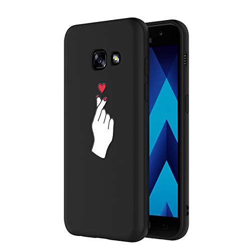 Yoedge Coque Samsung Galaxy A5 2017, Etui en Silicone avec Noir Motif Design Antichoc Housse de Protection Flim TPU Gel Case Cover Coque pour Telephone Galaxy A5 2017 5,2 Pouces, Amour