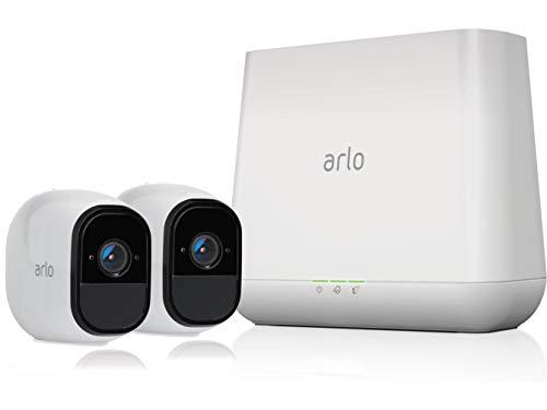 Arlo Pro Smart Home 2 HD-Überwachungskameras und Sicherheitssystem (100% kabellos, 720p HD, 130 Grad Blickwinkel, WLAN, Nachtsicht, Indoor/Outdoor, 100 dB Sirene) weiß, VMS4230