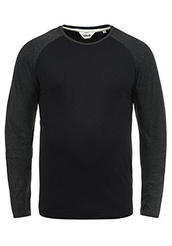 !Solid Bastien Herren Longsleeve Langarmshirt Shirt Mit Rundhalskragen, Größe:M, Farbe:Black (9000) Baseball-sweatshirt