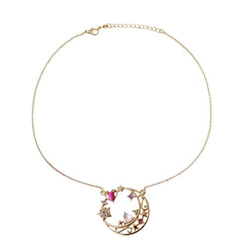 Mädchen-Kämpfer-Monat-Hasen-Frisur-Liebes-Mond-Halskette,Gold-OneSize