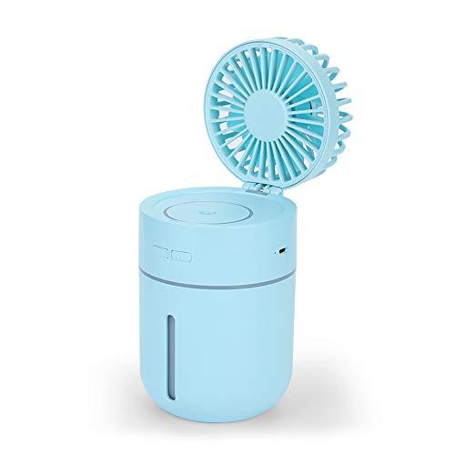 Huainiu Ventilador Flexible USB Recargable, Ventilador con Agua Pulverizada, Ventilador LED Humidificador Externo Portatil, Ventilador Helicoidal Oficina Mesa Silencioso (Azul)
