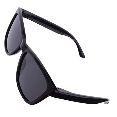 CGID Retro 80er Sport Designer Klassische Sonnenbrille für Männer und Frauen Polarisierte Sonnenbrille Brille Ultra Leicht 100% UV400 Schutz Glänzender Schwarzer Rechteck Rahmen Schwarze Linse MJ17