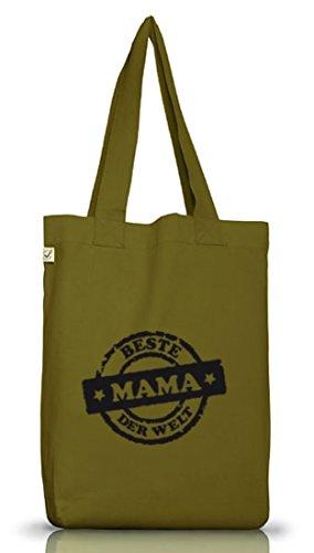 Shirtstreet24, Beste Mama der Welt Stempel, Muttertag Mutter Jutebeutel Stoff Tasche Earth Positive Leaf Green