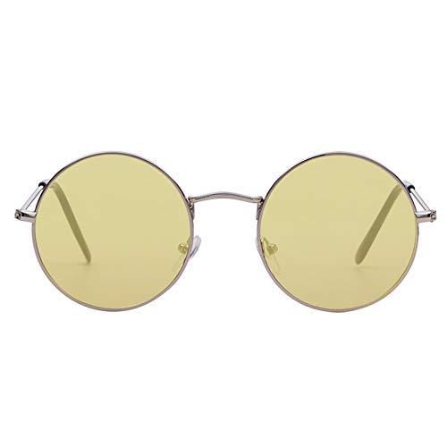 FEYGB Sonnenbrillen Sommer Retro Runde Sonnenbrille Männer Womenvintage Kreis Schwarz Rot Rosa Linse Hippie Sonnenbrille Shades, Gelb