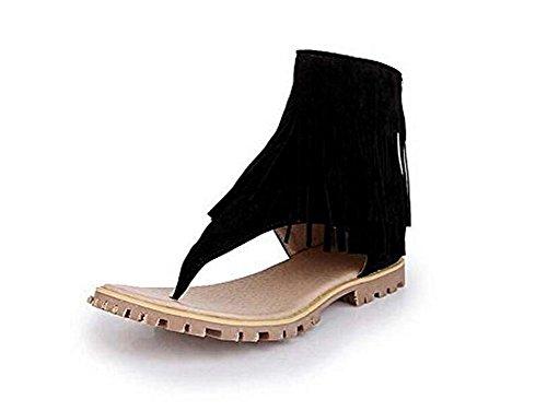 Beauqueen Estate Tassel Plain Scrub femminile cerniera pattini casuali Dimensioni speciali di donne dei sandali Europa 32-47 Black