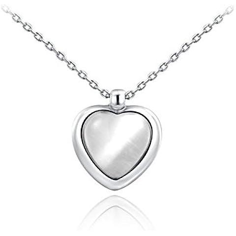 Da donna 18ct placcato oro rosa/platino cuore Opal Collana con ciondolo a forma di cuore allungato