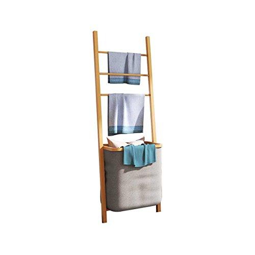 EASE Cesto de la ropa sucia Madera Ropa Cesta estantería de baño, estantería de baño con cesta extraíble Natural Gran Capacidad, Handtuchhalter:42*33*139(B*T*H)