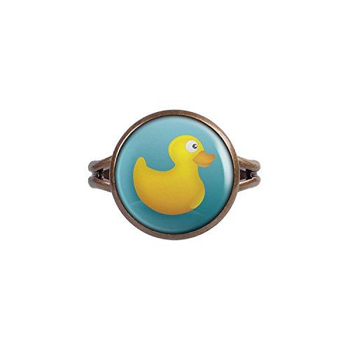 Mylery Ring mit Motiv Quietsche-Ente Gummi-Ente Bade-Ente Gelb Blau bronze 14mm (Blaues Schaumbad)