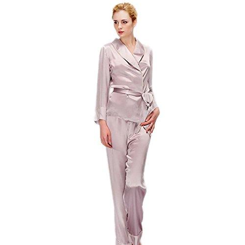 CHUNHUA Frau 100% Seide Pyjama weibliche langärmeligen Pyjamas Jogginghose Anzug gray purple