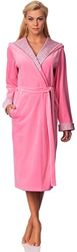 Merry Style Femmes Velours Peignoir de Bain avec Capuche Penelope Rose