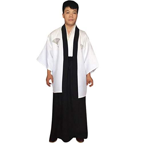 Krieger Muster Samurai Kostüm - Setsail Herren Bequeme Robe japanische traditionelle Samurai Herren Kimono Krieger Robe Outfit Kostüm