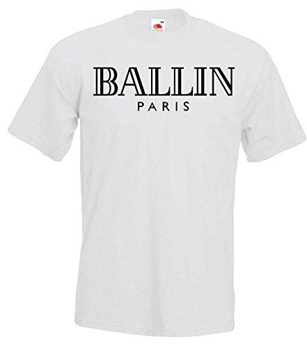 TRVPPY Herren T-Shirt Modell BALLIN Paris, Weiß, S
