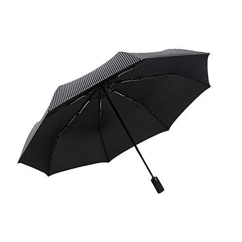 Lanker Vollautomatische Open Golf Regenschirm Gestreift Regenschirm Winddicht Wasserdicht Stick Regenschirme Herren Frauen ks03p Schwarz