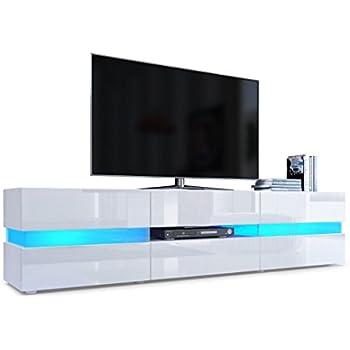 TV Board Lowboard Flow Korpus in Weiß matt Front in Weiß