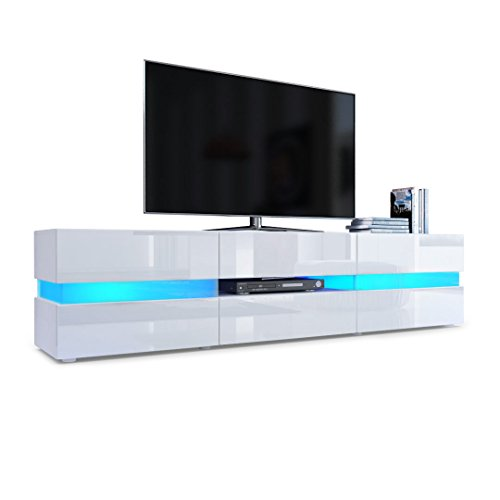 Tv Unit Cabinet Flow, Carcass In White Matt / Front In White High Gloss With Led Lights
