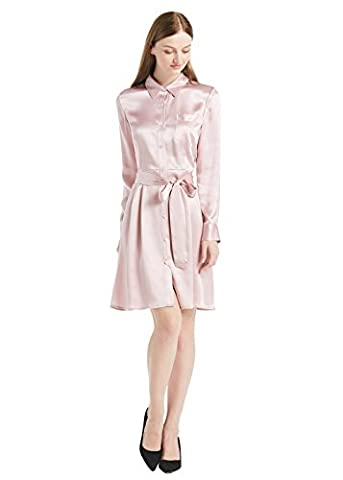 LILYSILK Women's Silk Shirt Dress Long Sleeve with Belt Blouse 22 Momme Charmeuse Silk Rosy Pink Size