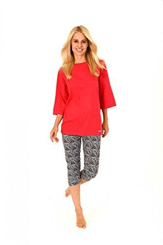 Damen Pyjama kurzarm mit Caprihose, Capri-Hose im Leopardenlook - 171 204 90 860, Größe:40/42;Farbe:rot (Capri-pyjama-hose)