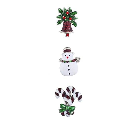 Lux Accessories argentato Holiday Snowman Candy Cane spilla pin set ( pezzi)