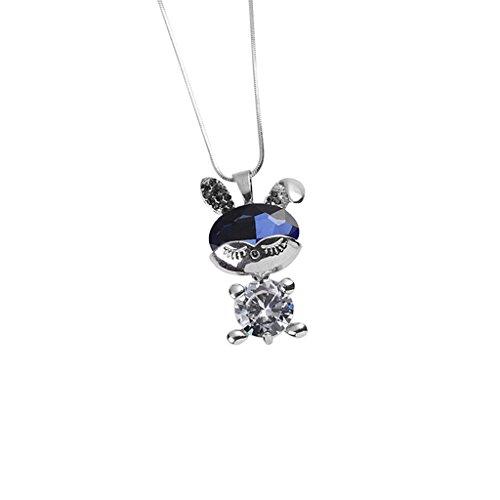 Baosity 1x Kaninchen Entwurf Halskette Klassische Party Halskragen Geschenk für Damen Geburtstag - Silber Blau