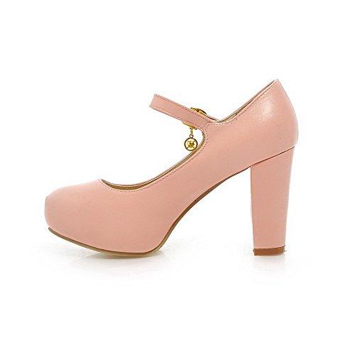 AgooLar Femme Matière Souple Rond Boucle Couleur Unie Chaussures Légeres Rose