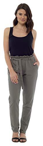 CityComfort Damen Leinenhose | Sommer-Outfit für Frauen mit Trendiger Papiertüte Taille | EU 38 bis 52 Plus Size Hose für Frauen ( EU 52 / UK 24, Khaki) (Plus-size-leinen-hose)