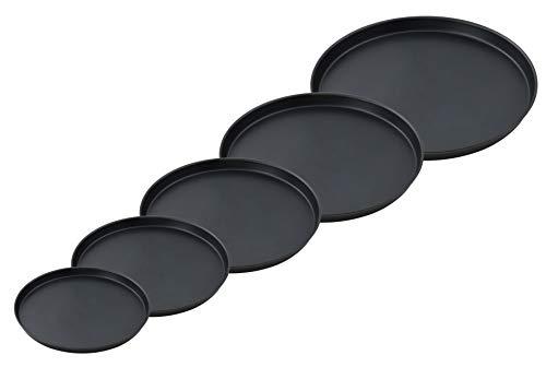 FMprofessional Pizzablech-Set, fünf Bleche in verschiedenen Größen, runde Backbleche aus Blaublech, für - Marke Pizzaofen Italienische